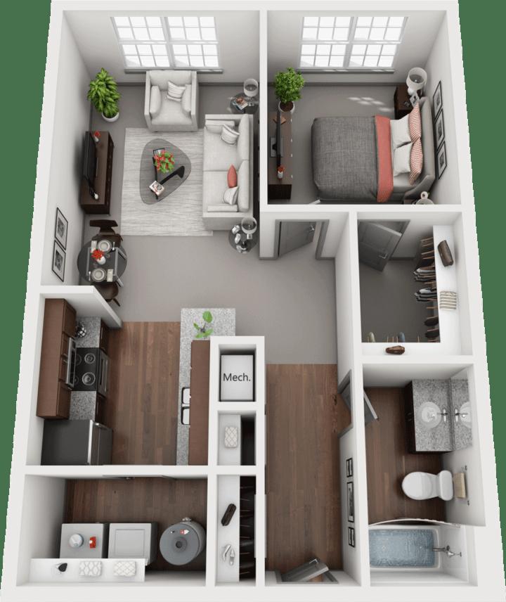 Acapella-A, 1BD, 1BA Floor Plan
