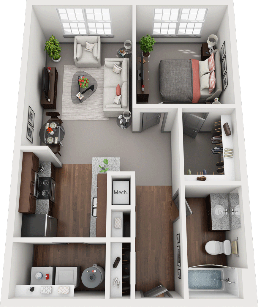 Acapella-A, 1BD, 1BA Floor Plan
