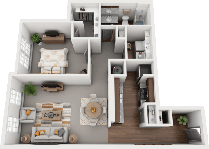 Acapella-B, 1BD, 1BA Floor Plan
