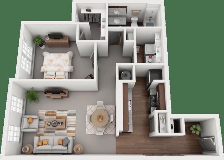 Acapella-B, 1BD, 1BA Floor Plan