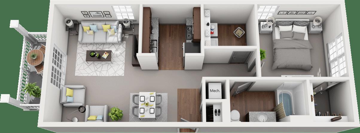 Acapella-C, 1BD, 1BA Floor Plan