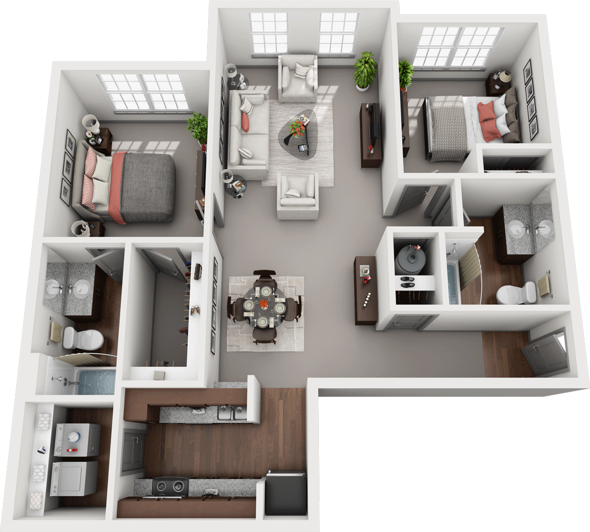 Duet, 2BD, 2BA Floor Plan