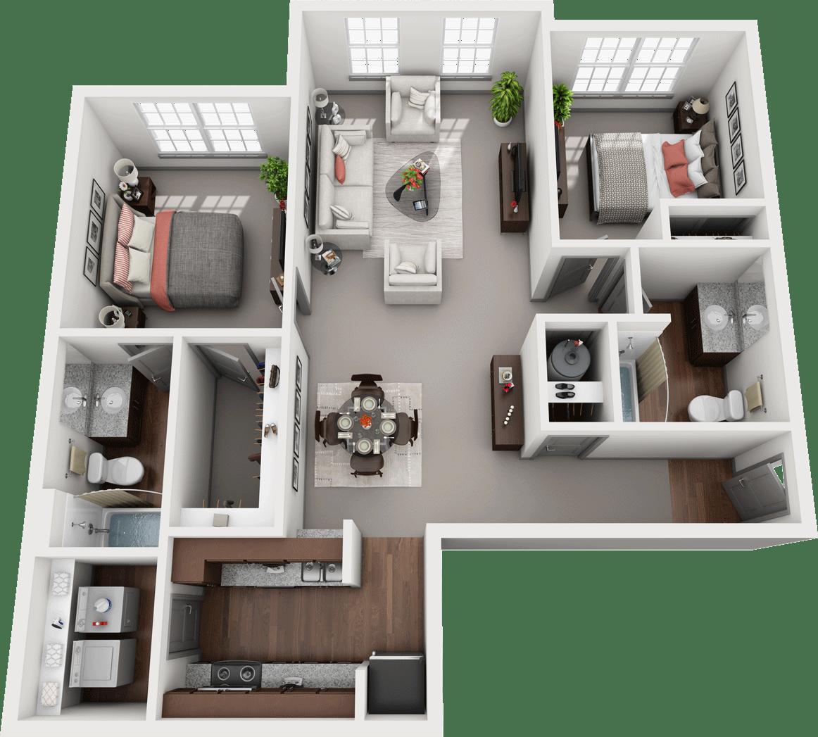 Duet, 2BD, 2BA Floor Plan