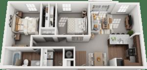 Duo, 2BD, 1BA Floor Plan