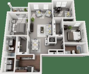 Trio, 3BD, 2BA Floor Plan