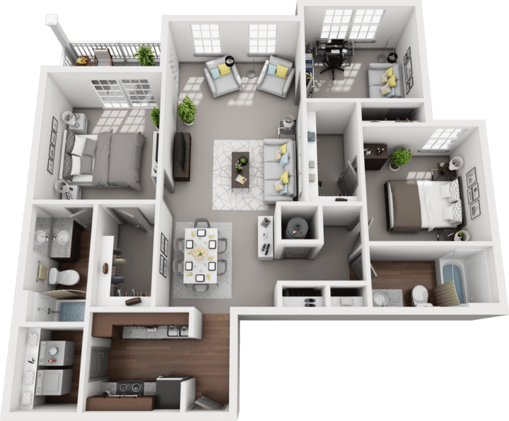 Trio, 3BD, 2BA Floor Plan