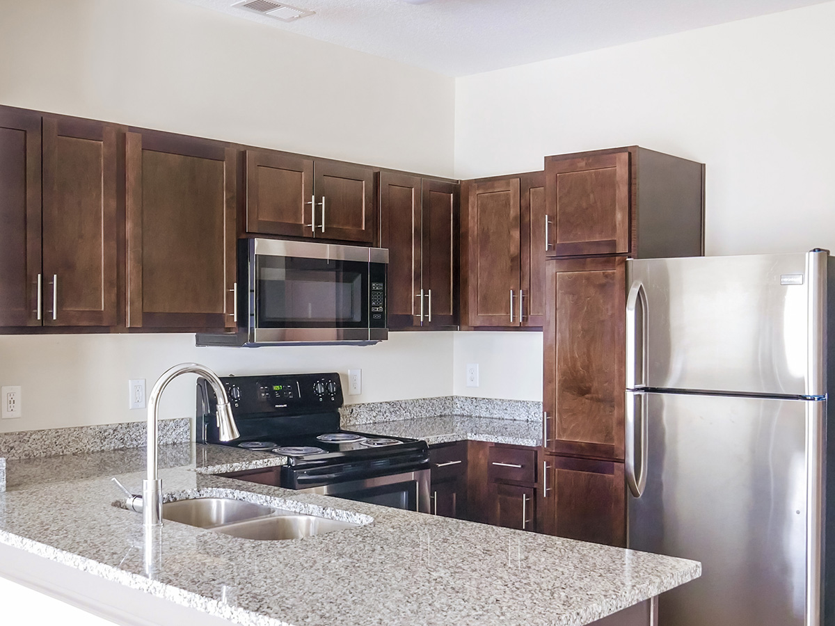 kitchen with brown cabinets